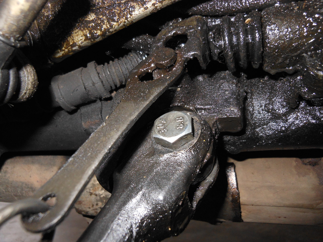 The oily bits, showing the replacement bolt.